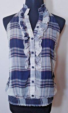 Forever 21 M Shirt Rue Blue Plaid Gray Sheer Ruffle Sleeveless #FOREVER21 #Blouse #Casual
