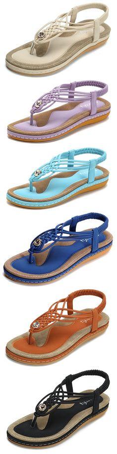 US$21.99 SOCOFY Handmade Knitting Clip Toe Elastic Flat Sandals