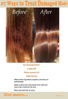 27 Ways To Treat Damaged Hair Get these damaged hair repair tips and ideas at our site. Diy Hair Treatment, Natural Hair Treatments, Homemade Hair Treatments, Damp Hair Styles, Natural Hair Styles, Natural Beauty, Organic Beauty, Hair Cure, Hair Mask For Damaged Hair