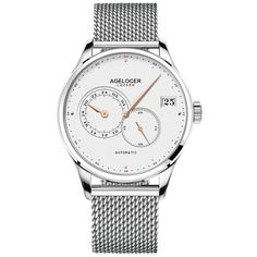 Themis 5102A9  Watchcase: 316L Stainless steel Watchglass: Synthetic sapphire Watchband: Silver steel mesh watchband Watch dial: White frosted Jewel: 27 Movement: Cal.A4001 Frequency 21600 v.p.h 40 hours Power Reserve Transparent caseback Diameter 40 mm Thickness 10 mm Water-resistance 5 Bar #agelocer #watchesformen Mechanical Watch, Mechanical Hand, Mens Sport Watches, Cheap Watches, Automatic Watches For Men, Steel Mesh, Watch Bands, Rolex Watches, Bracelet Watch