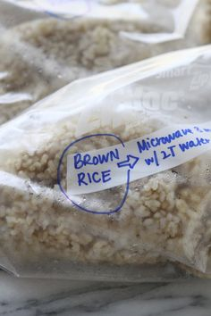 brown rice in the freezer