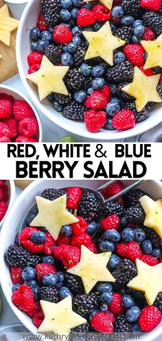 Berry Fruit Salad is made with fresh berries, a light and refreshing honey lime poppy seed dressing and topped with apple shaped stars. This patriotic fruit salad is perfect for theFourth ofJuly, a summer BBQ or breakfast! #berryfruitsaladrecipe #fourthofjuly #healthyberrysalad #berrysalad #berrysaladrecipe #bestberrysalad