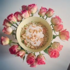 Hmmmmmm! Breakfast with flowers made with our plant-based alternative to yogurt…