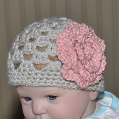 Baby Hat Infant Hat with Flower Infant by threekittensknitting, $14.00 Infant Hat, Baby Needs, Baby Hats, Crochet Hats, Coats, Trending Outfits, Unique Jewelry, Handmade Gifts, Flowers