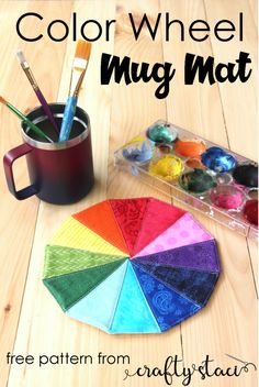 Color Wheel Mug Mat from Crafty Staci #mugmat #mugrug #rainbow #sewing #tutorial Fabric Glue, Fabric Scraps, Quilt Patterns Free, Free Pattern, Diy Craft Projects, Sewing Projects, Mug Rugs, Brighten Your Day, Color Theory