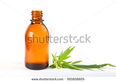 Marijuana Cannabis hemp essential Oil (Extract, tincture) Isolated On White Background With place for text. Selective Focus.