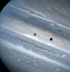 Io casts a shadow on Jupiter.