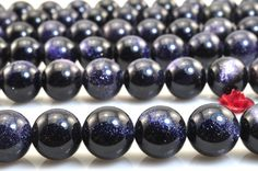 37 pcs of Blue and Stone smooth round beads in 10mm