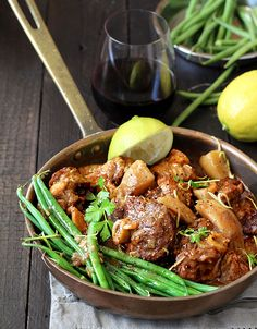 Gran's traditional green bean bredie recipe, made modern for now. All the delicious rich spice of old, plus a burst of zingy freshness. Lamb Recipes, Meat Recipes, Cooking Recipes, Oven Recipes, Fish Recipes, Healthy Family Meals, Healthy Snacks, South African Recipes, Kitchens