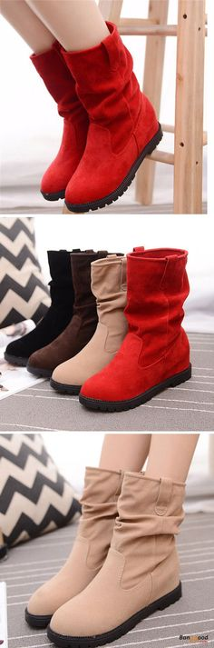US$24.89 + Free shipping. Size(US): 5~9. Color: Black, Red, Beige. Fall in love with casual and warm style! Boots Outfit, Boots Fall, Warm Fashion, Women's Fashion Casual, Women's shoes.