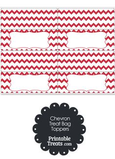 Red Chevron Treat Bag Toppers from PrintableTreats.com