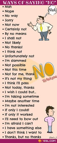 NO Synonym! List of many different Ways to Say NO in English with ESL pictures. Learn these useful synonyms for NO to increase your English vocabulary and improve your communication skill. English Vocabulary Words, Learn English Words, English Phrases, Learn English Speaking, English Grammar Rules, Grammar Lessons, Grammar Quotes, Slang English, Learn English Grammar