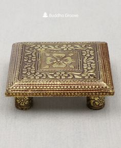 This exquisitely embossed statue stand adds an antique touch to your altar with its floral motifs and golden brass color. Perfect for smaller statues. Floral Motif, Floral Design, Zen Home Decor, Brass Color, Deities, Emboss, Pedestal, Buddha, Decorative Boxes