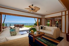 Main House Living Room Opens to Ocean
