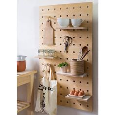 A playful and adaptable solution for coats, bags, clothing and everything else. The simple pegs can be arranged on the board according to your needs.The pegboard comes with a variety of accessories to select. Please choose from the drop-down menu. The shelves are made from same material as the pegboard: birch plywood, finished in Danish oilPegboards have long been a favourite practical storage solution for studios and workspaces. We have updated the concept with the Peg-it-all pegboards that…