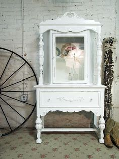 Painted Cottage Chic Shabby White One of A Kind by paintedcottages