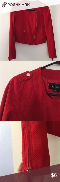 Forever 21 Red Jacket Beautiful red with structured fit, has zippers on sleeves. Slightly cropped, in excellent condition. Forever 21 Jackets & Coats