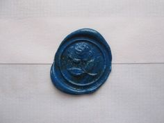 Blue rose wax letter seal