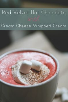 Red Velvet hot Chocolate with Cream Cheese Whipped Cream. The only thing t make this better would be to add Vanilla Vodka!
