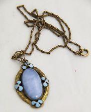 ANTIQUE ESTATE Jewelry ART DECO / NOUVEAU CZECH BLUE GLASS & ENAMEL NECKLACE