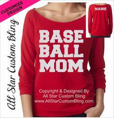 Baseball Mom Glitter Bling Raglan Shirt With by AllStarCustomBling