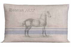 Linen Pillow With Vintage Grain Sack by ScandinavianElements, $31.00