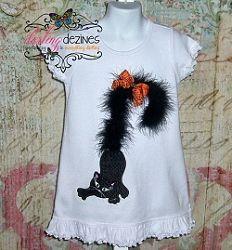 Black Cat Boa Tail Applique - 3 Sizes! | Halloween Applique Machine Embroidery Designs | Machine Embroidery Designs | SWAKembroidery.com