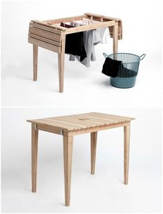 The two Danish architecture students Anne Nørbjerg og Sanne Kyed Jeppesen noticed that urban balconies usually have either a café table or a drying rack, but rarely both, so they invented Dryunder, a space-saving piece of furniture that can be used as bot Small Space Living, Small Spaces, Diy Tisch, Clothes Dryer, Cafe Tables, Shoe Box, Space Saving, Home Furnishings, Balcony