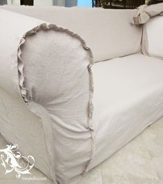 Drop cloth slip cover tutorial.