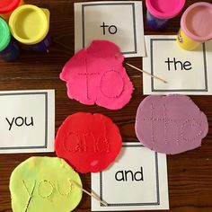 "Instead of forming sight words with long pieces of PlayDoh, flatten a piece of PlayDoh and then use a toothpick or skewer to ""carve"" the sight word into the PlayDoh. So much easier for young kiddos! E Learning, Learning Sight Words, Sight Word Practice, Sight Word Games, Tricky Word Games, Spelling Word Games, Sight Word Centers, Sight Word Activities, Phonics Activities"