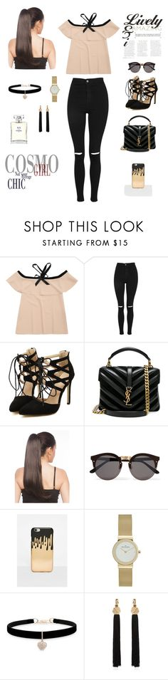 """""""Casual style"""" by senadasisic ❤ liked on Polyvore featuring Topshop, Yves Saint Laurent, Illesteva, Missguided, Betsey Johnson and Chanel"""