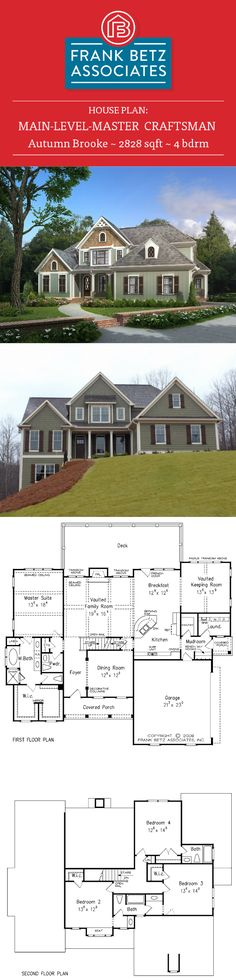Autumn Brooke: 2828 sqft, 4 bdrm craftsman house plan design by Frank Betz Associates Inc. Home Design Plans, Plan Design, Future House, My House, Frank Betz, Craftsman Style House Plans, Next At Home, House Floor Plans, Building A House