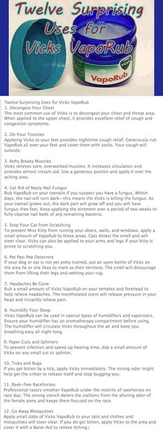 12 Uses for Vicks Vapor Rub