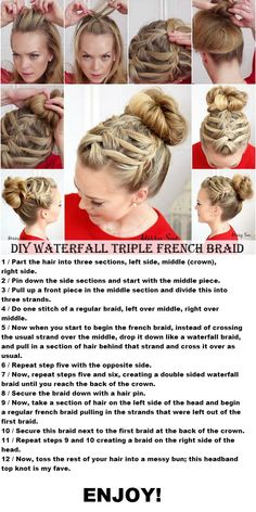 DIY Waterfall Triple French Braid