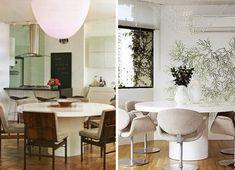Mesa redonda branca - cadeiras diferentes