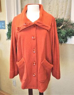 Laura Ashley Boiled Wool Blend Collared Sweater Coat 1X Orange Lg Buttons Plus #LauraAshley #Sweatercoat #CasualCasualDressy