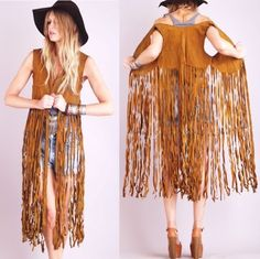 Found a darker brown suede fringe vest like this at Dollars and Sense last weekend! If only I had jean shorts ...