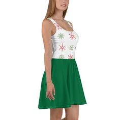 Green Candy Cane Skater Dress, Christmas Party Dress, Green White Striped, Holiday Outfit, Sizes XS-3XL Plus Size Christmas Dresses, Just Like Candy, Green Candy, Dress Picture, Holiday Outfits, Flare Skirt, Candy Cane, Green Dress, Skater Dress