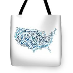 United States Of America Map Art Tote Bag.