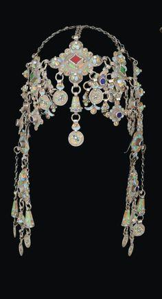 Headdress; silver filigree work, coral and glass insets, enamel, ca. 19th century, Anti Atlas region, Morocco