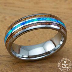 Blue Opal and Hawaiian Koa Wood Tungsten Carbide