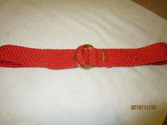 LAUREN BELT BRIGHT ORANGE WOVEN GOLDTONE RING CLASP  #LaurenRalphLauren #WaistBelt