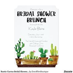 Rustic Cactus Bridal Shower Brunch Invitation designed by KinsieMichelle Design Co.