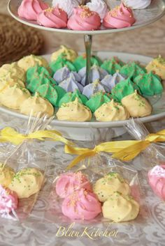 Meringue Cookies~                         By Blaukitchen, yellow, green, pink, blue