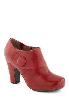 Lovable as Lychee Bootie. Indulge in the enjoyable flavor of these bright red booties by Miz Mooz! #red #modcloth