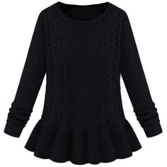 Black Plain Peplum Pullover Cable Knit Ladies Retro Sweater ($15) ❤ liked on Polyvore featuring tops, sweaters, black, black peplum sweater, pullover sweater, black pullover, peplum tops and peplum sweater