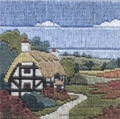 Poppy Cottage Silken Long Stitch Kit from Derwentwater Designs and designed by Rose Swalwell.