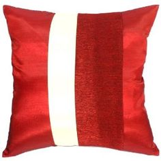 """Artiwa 20""""x20"""" Couch Bed Throw Decorative Silk Pillow Case : Red & Cream :     Price: $37.99    .        Elaborately produced by only some artisans in northern part of Thailand, this Red silk decorative cushion covers with cream middle stripe design will be your elegant and unique home decorations. This cover is fitted with any standard 20"""" x 20"""" pillows. With hidden zippers,...Check Price >> http://gethotprice.com/appin/?t=B008UBSOFO"""