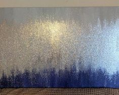 Handmade Abstract Glitter Painting Custom Modern Chic Home Decor Mint Blue Green Gold Glitter Paint, Gold Paint, Glitter Room, Glitter Walls, Deep Purple, Home Studio, North Carolina, Mahogany Stain, Cream Paint