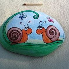 Snails painted on a stone